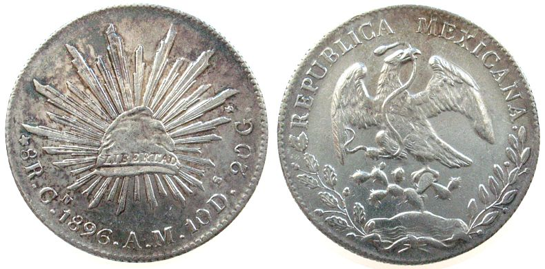 Старинная испанская или португальская серебряная монета 10 forint